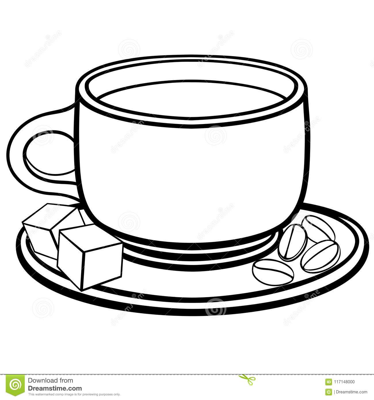 A Cup Of Coffee On A Saucer Coffee Beans And Sugar Pieces Line Drawing For Colorin Stock Vector Illustration Of Coffee Dishes 117148000