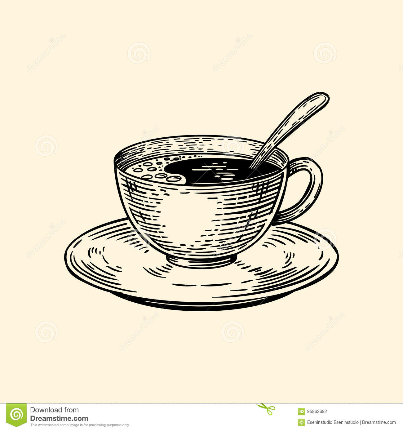 A Cup Of Coffee On A Saucer With A Spoon Vector Illustration In Sketch Style Stock Illustration Illustration Of Engraved Brown 95862692