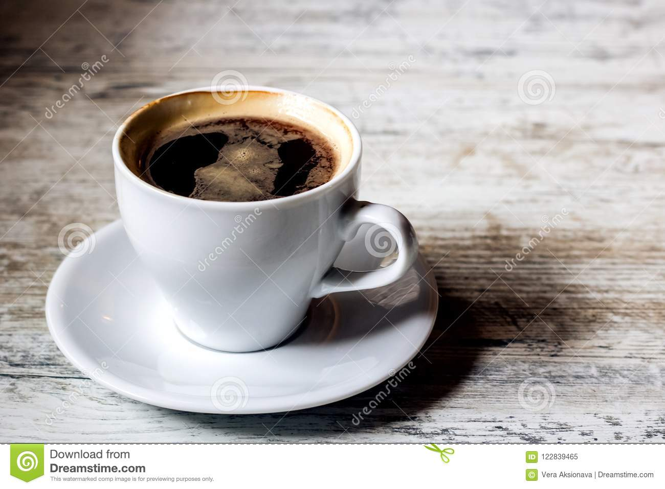 A Cup Of Coffee And Saucer On Wooden White Table Stock Image Kopi Wihte Download
