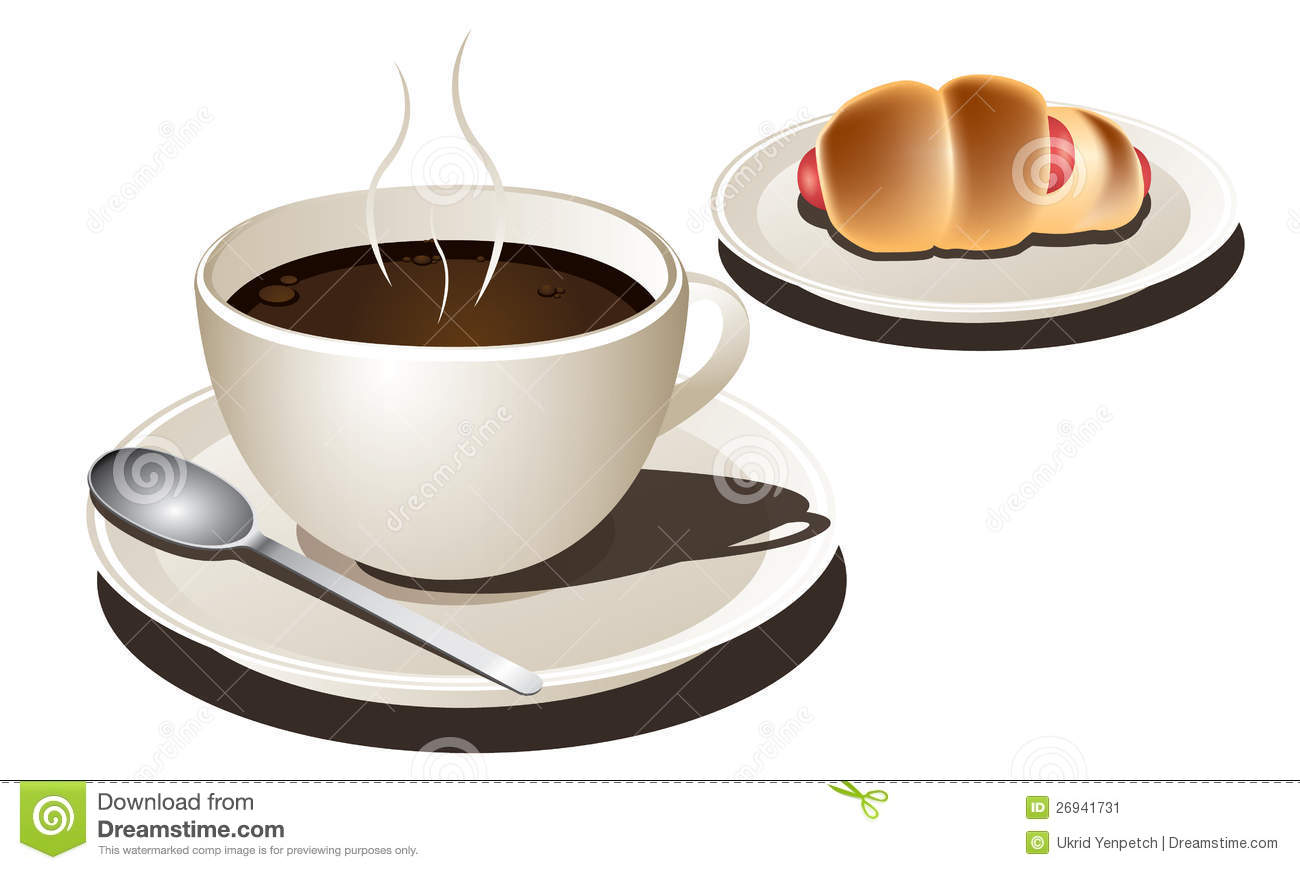 Cup Of Coffee With Sausage Bread Vector Stock Image