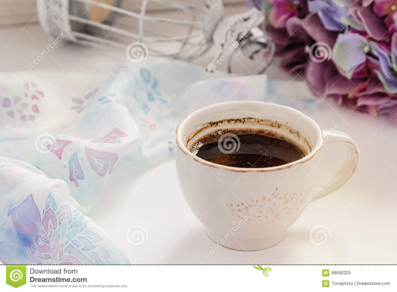 Cup Of Coffee With Shabby Chic Decorations Stock Image ...