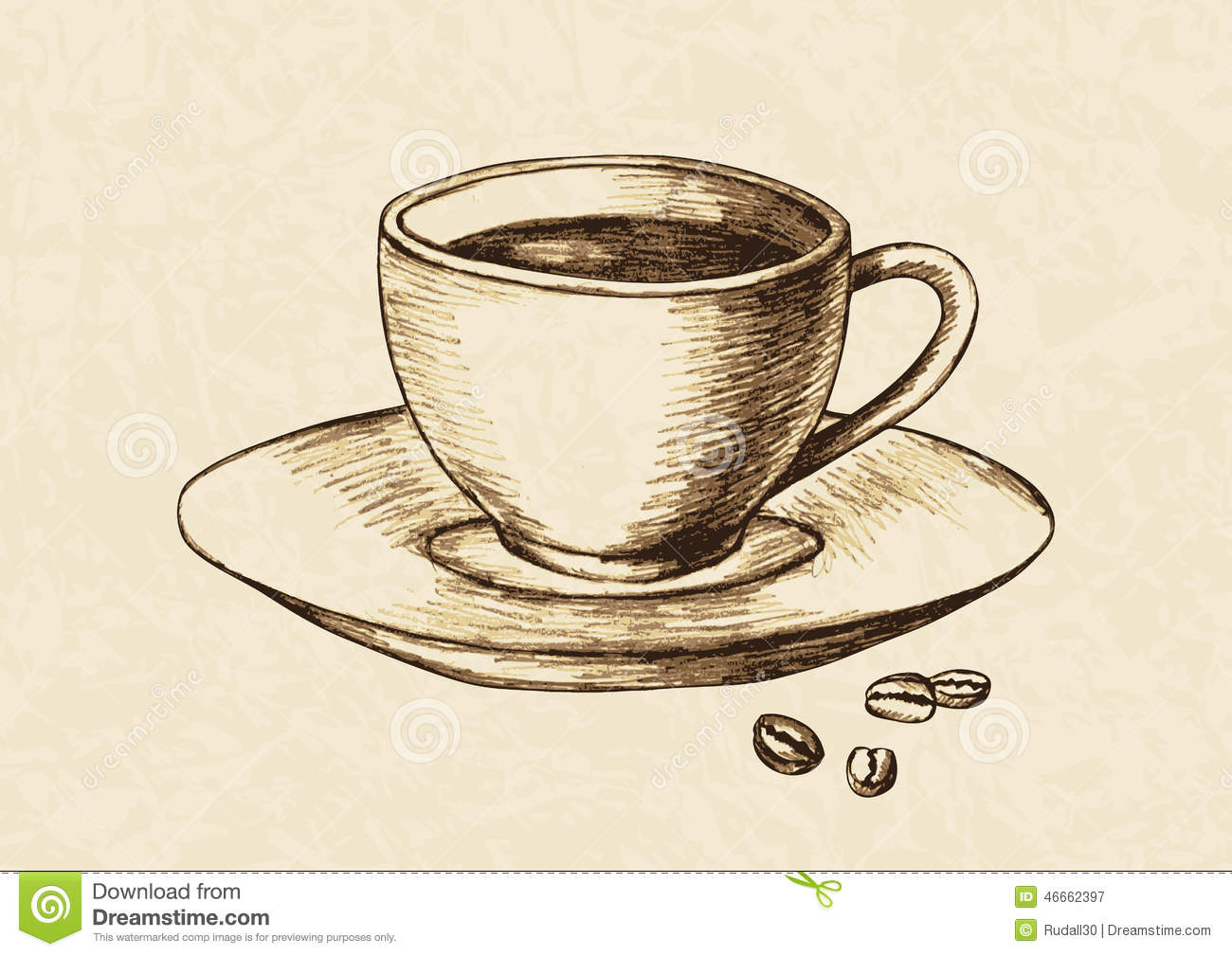 Sketch illustration of a cup of coffee and coffee beans.
