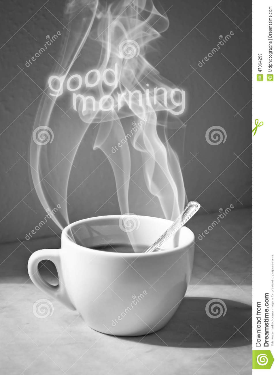 Cup Of Coffee With Steam And Good Morning Text Stock Photo
