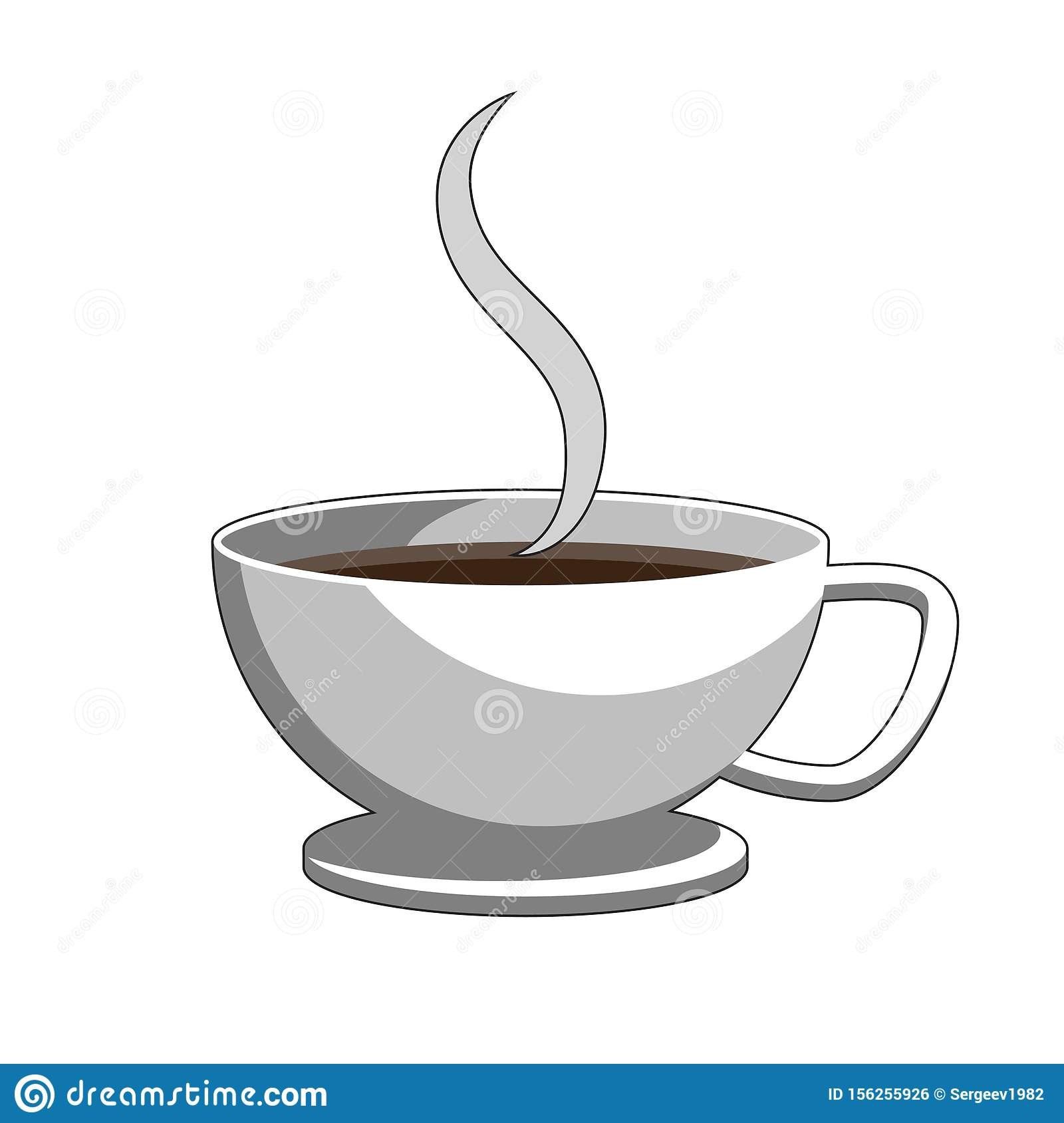 Cup Of Coffee And Steam. Label Icon Logo Design Element ...