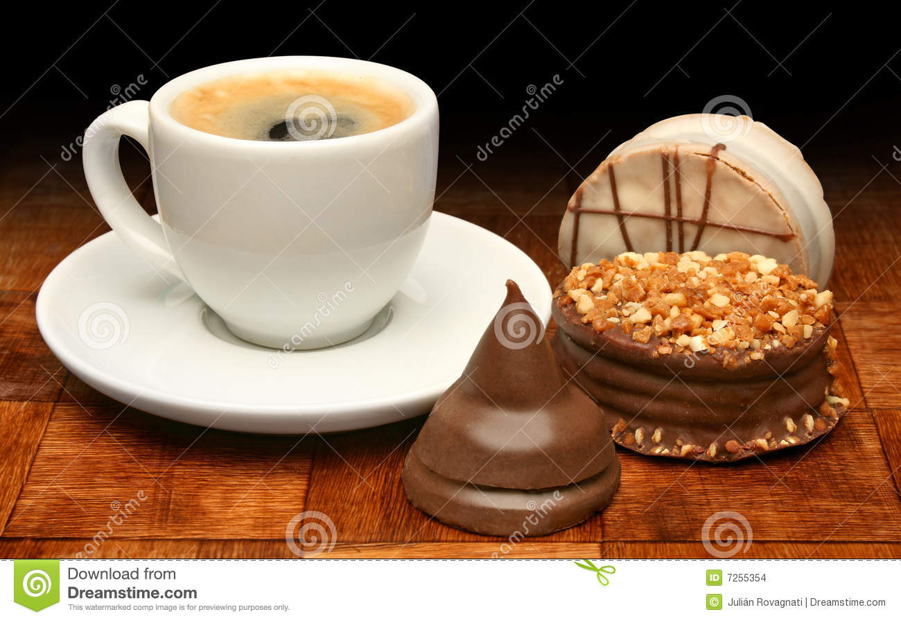 Cup Of Coffee And Sweet Chocolates Stock Photo Image Of