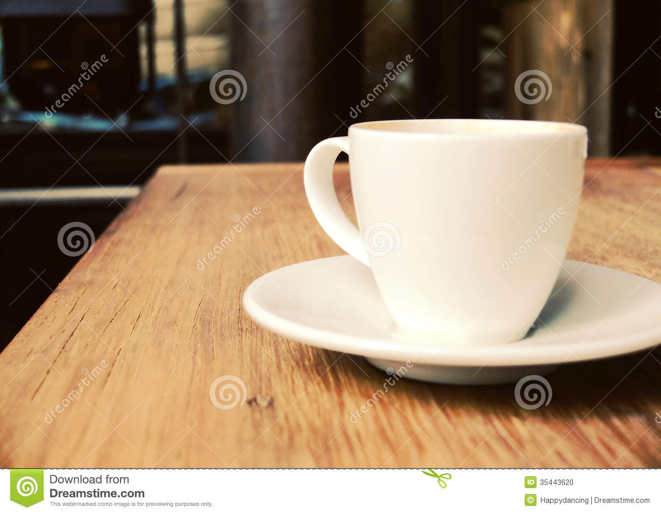 Cup Of Coffee On Table At Shop Stock Photo Image