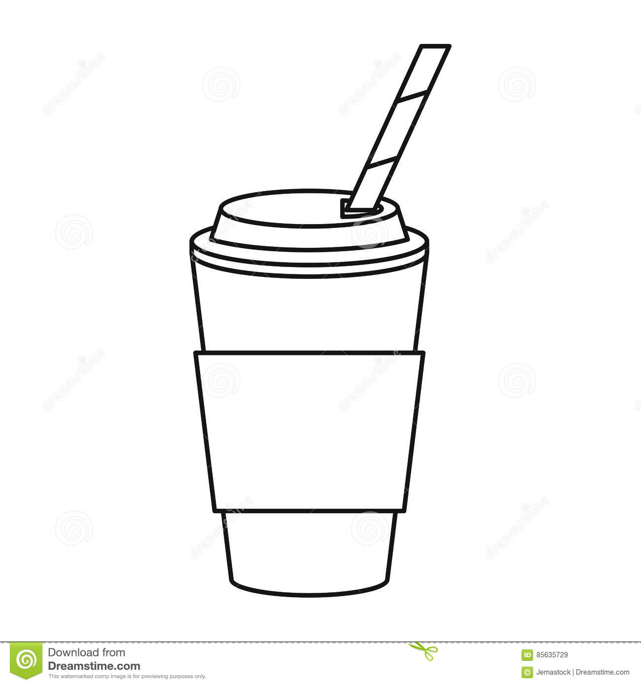 Cup coffee take away with cap straw thin line