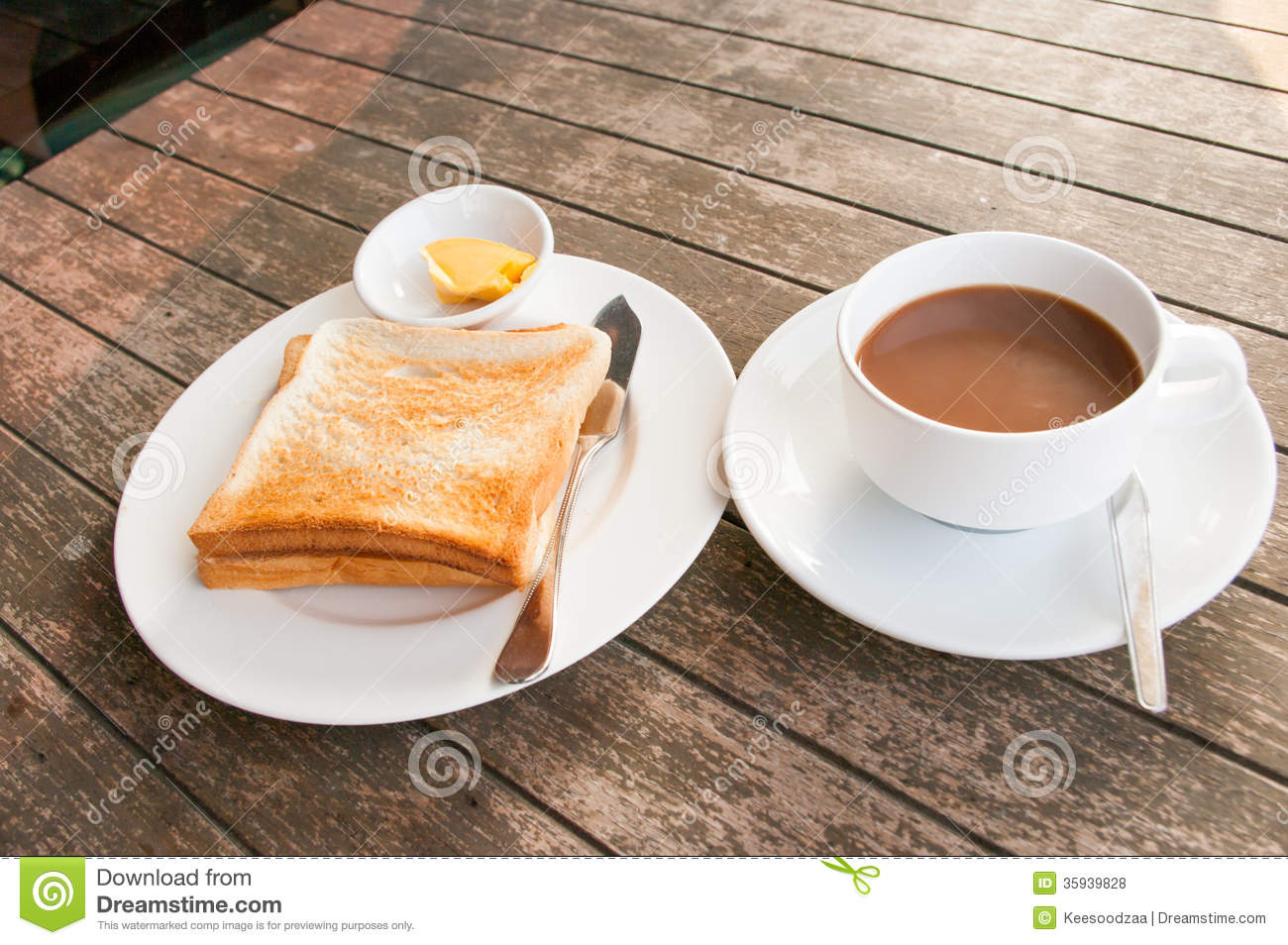 Cup Of Coffee Toast With Butter Royalty Free Stock Photos ...