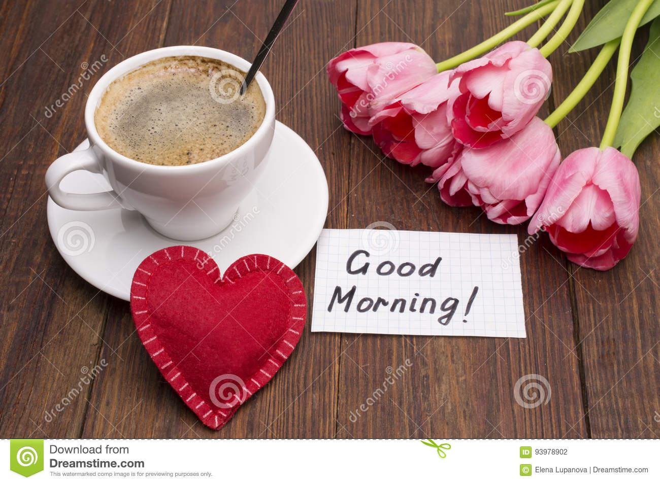 Cup Of Coffee Tulips Red Heart And Good Morning Massage Stock