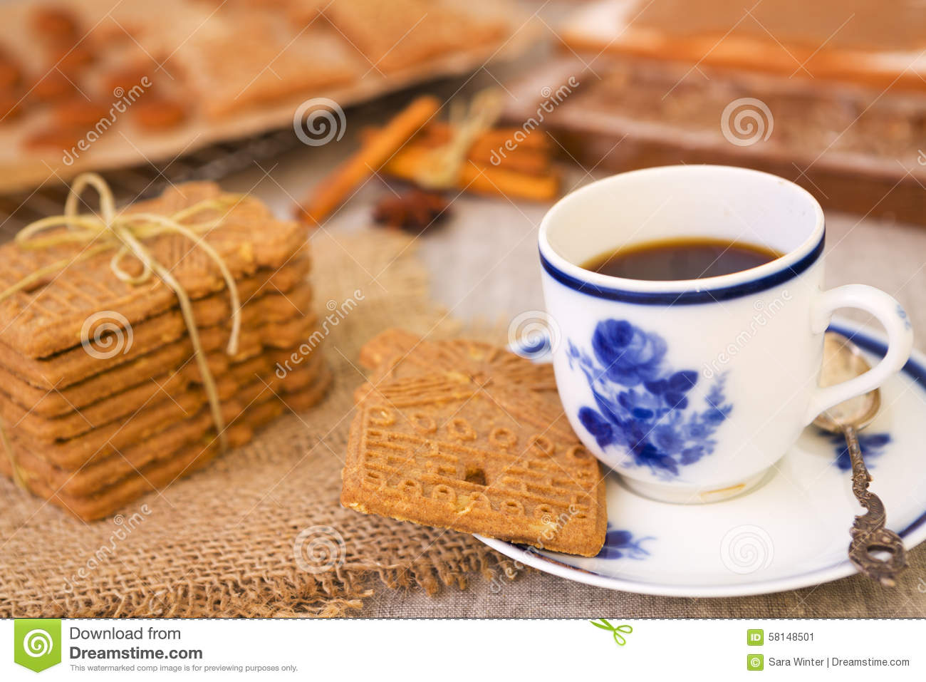 Cookie Coffee Cups Cup Of Coffee With A Typical Dutch Speculaas Cookie Stock Photo