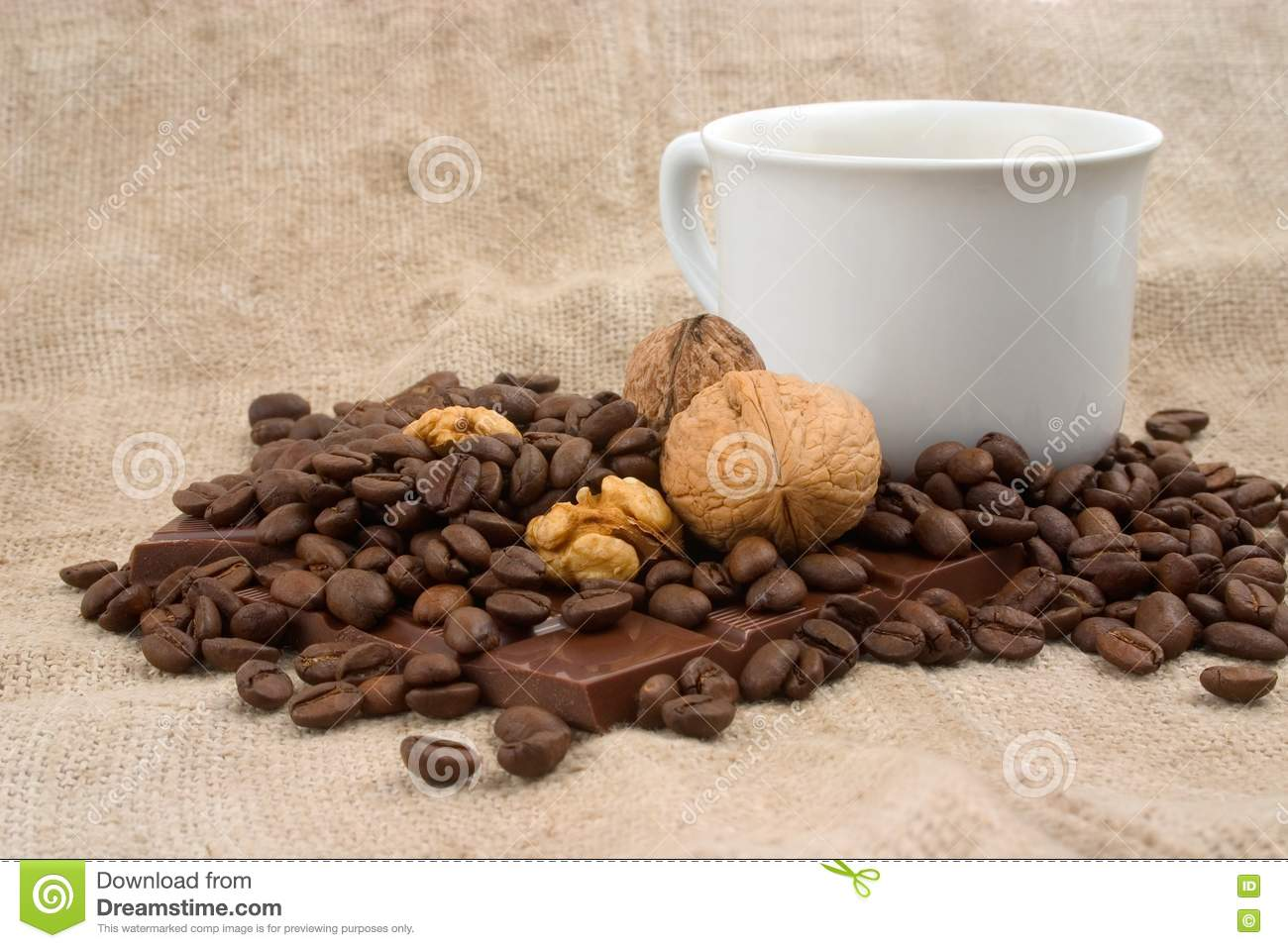 Cup Of Coffee, Walnuts, Coffee Beans And Chocolate Royalty Free Stock ...