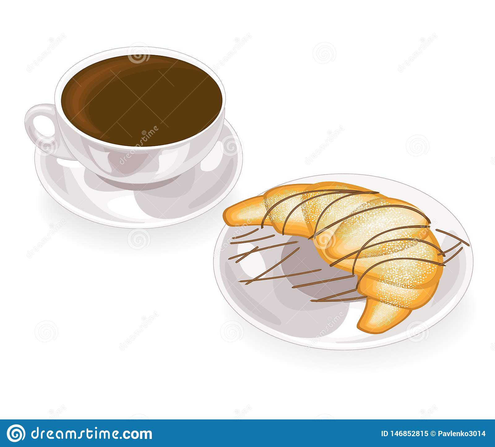 A cup of delicious black coffee and a fresh croissant on a plate with chocolate. Vector illustration