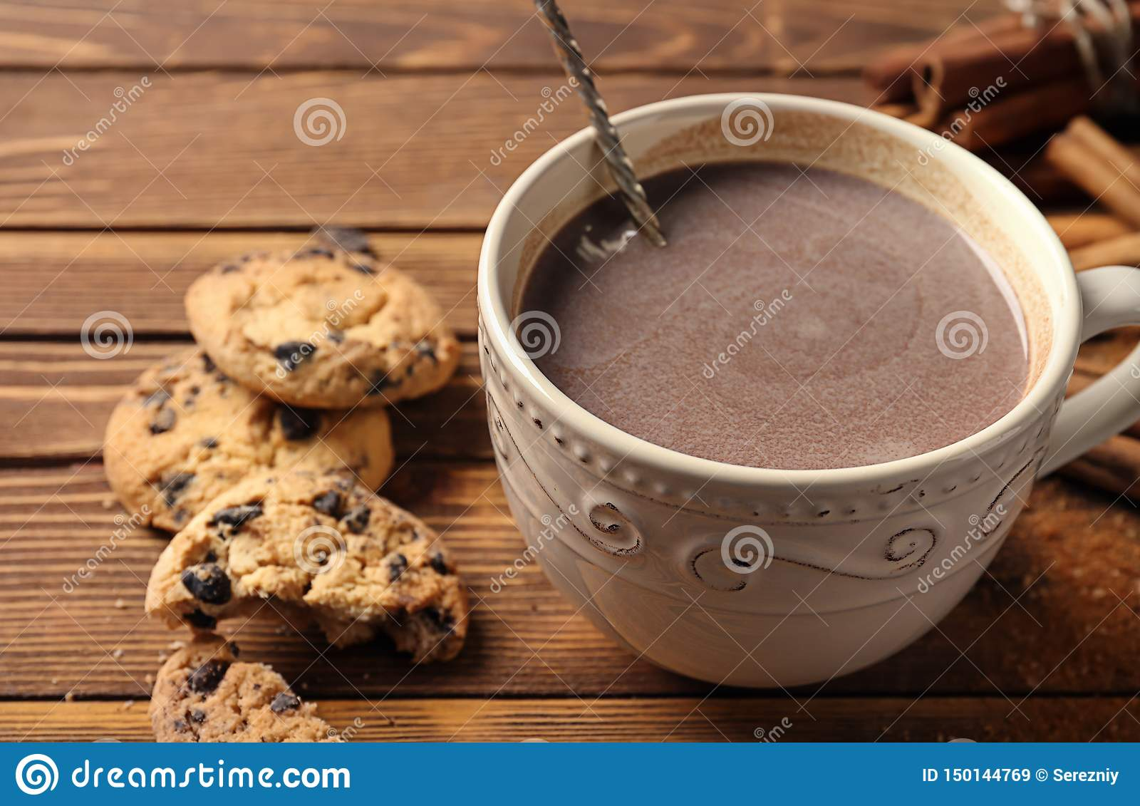 Cup Of Delicious Hot Cocoa And Cookies On Wooden Background Stock Image -  Image of color, delicious: 150144769