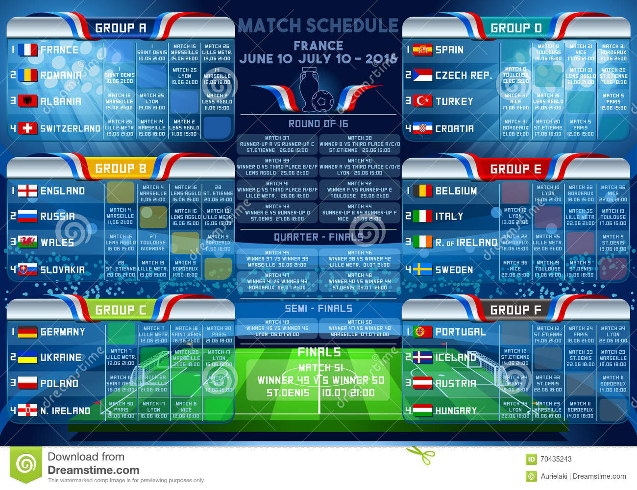 Cup EURO 2016 final tournament schedule. Football European Championship  Soccer final qualified countries. France Europe matches group stage  participating ... d259ab9592ce7