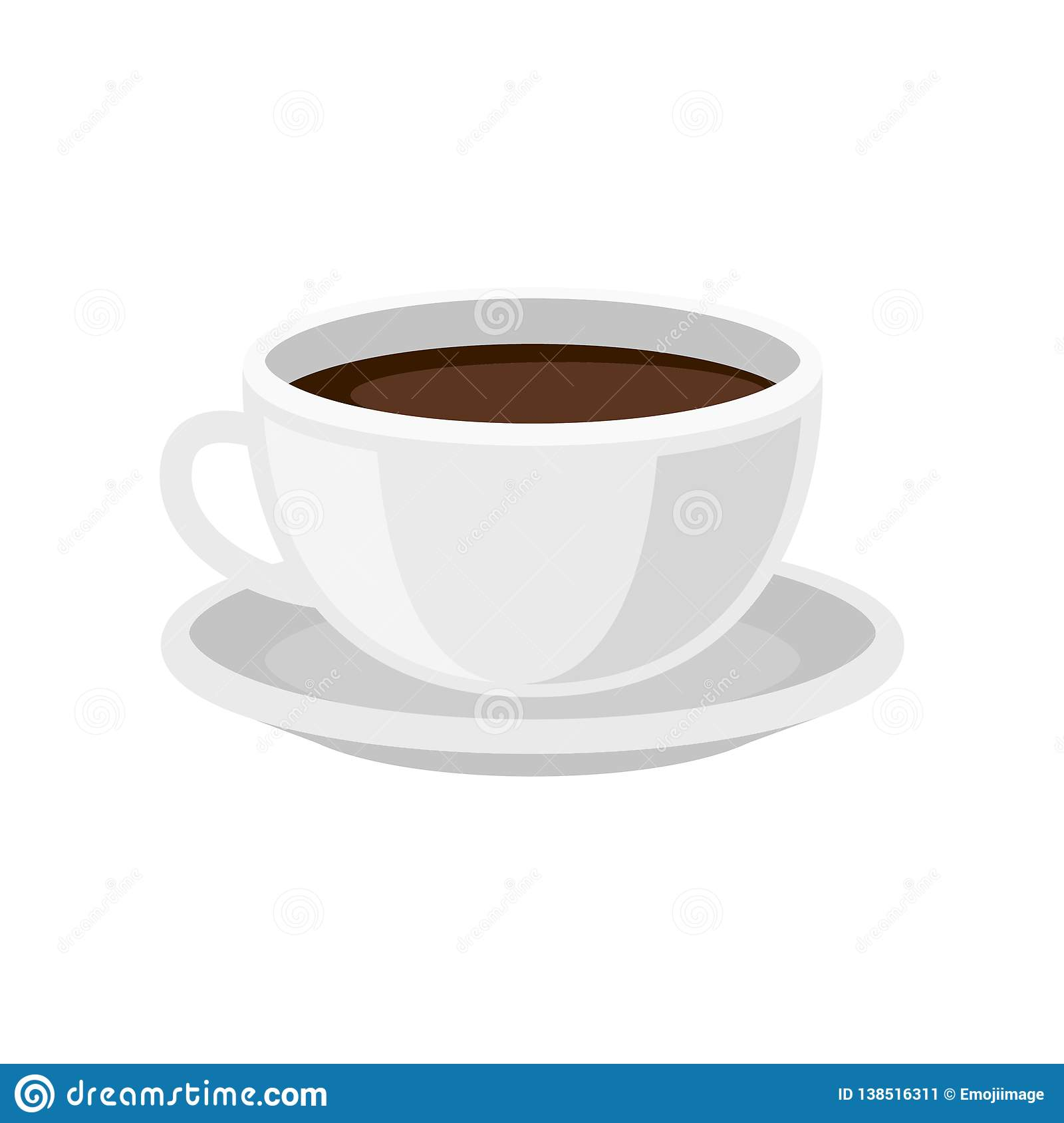 Cup Of Fresh Coffee On Saucer Tasty Morning Beverage Hot Drink Flat Vector Design For Cafe Menu Stock Vector Illustration Of Colorful Cafe 138516311
