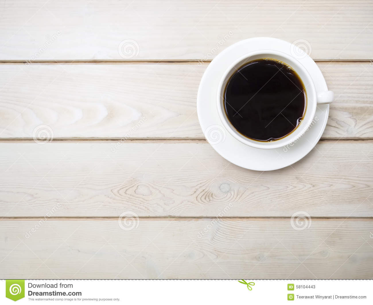 Cup of fresh coffee on wooden table top view stock image image cup of fresh coffee on wooden table top view geotapseo Gallery