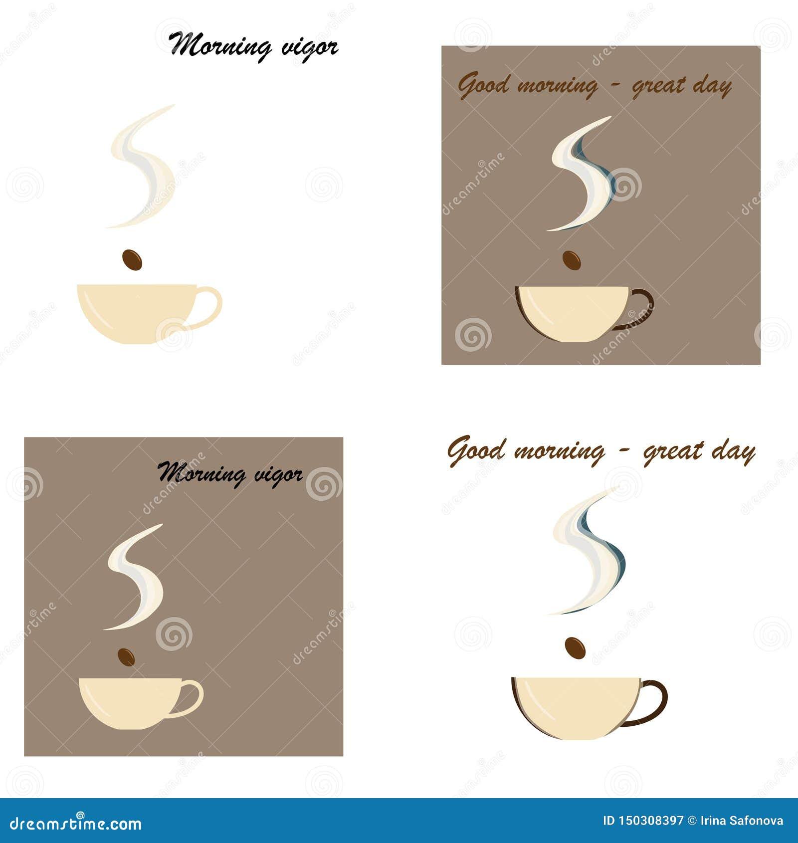Cup frischer Kaffee Auch im corel abgehobenen Betrag Flache Art Dekorativer Entwurf f?r Cafeteria, Plakate, Fahnen, Karten