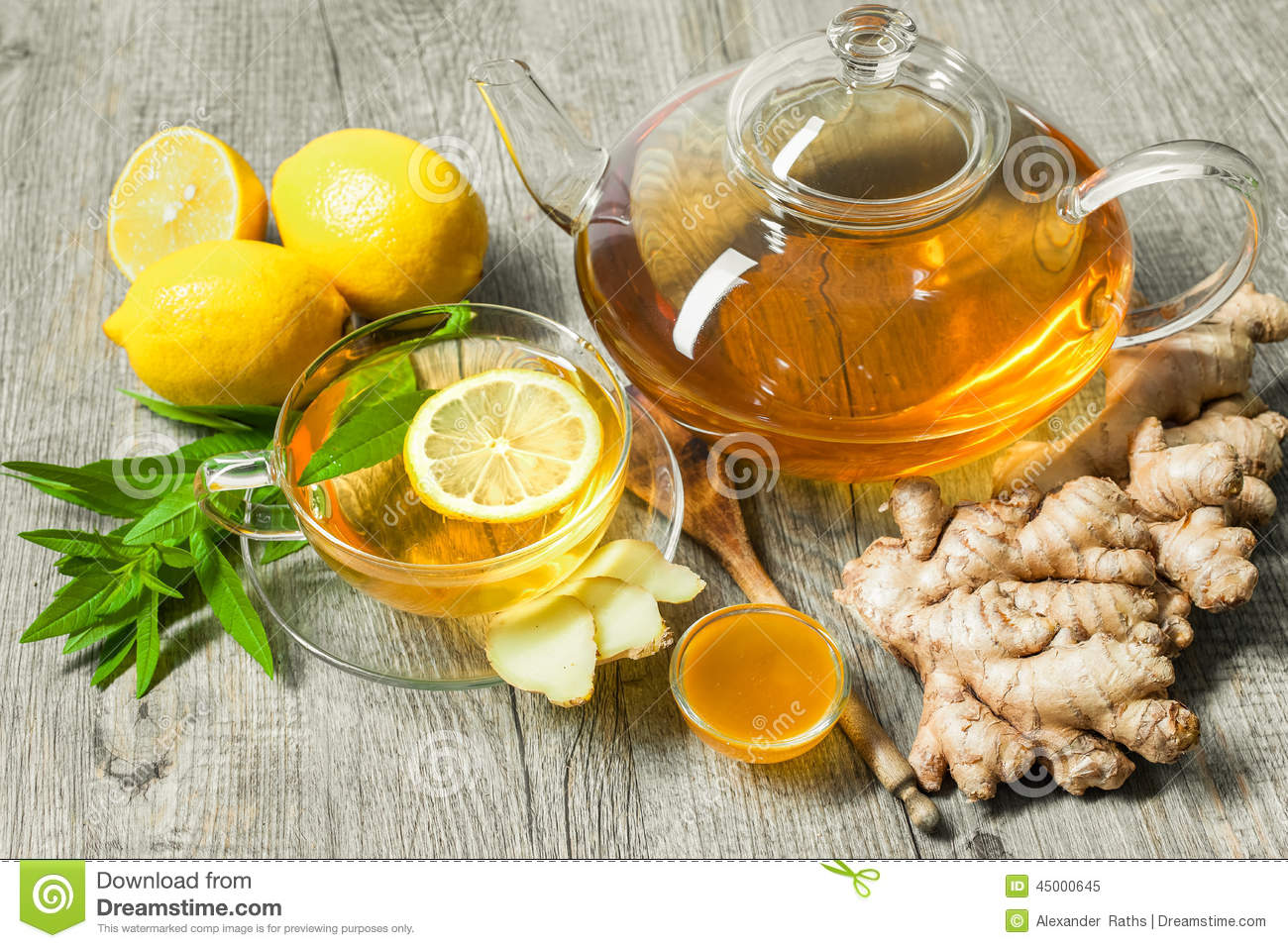 Cup Of Ginger Tea With Honey And Lemon Stock Image - Image ...