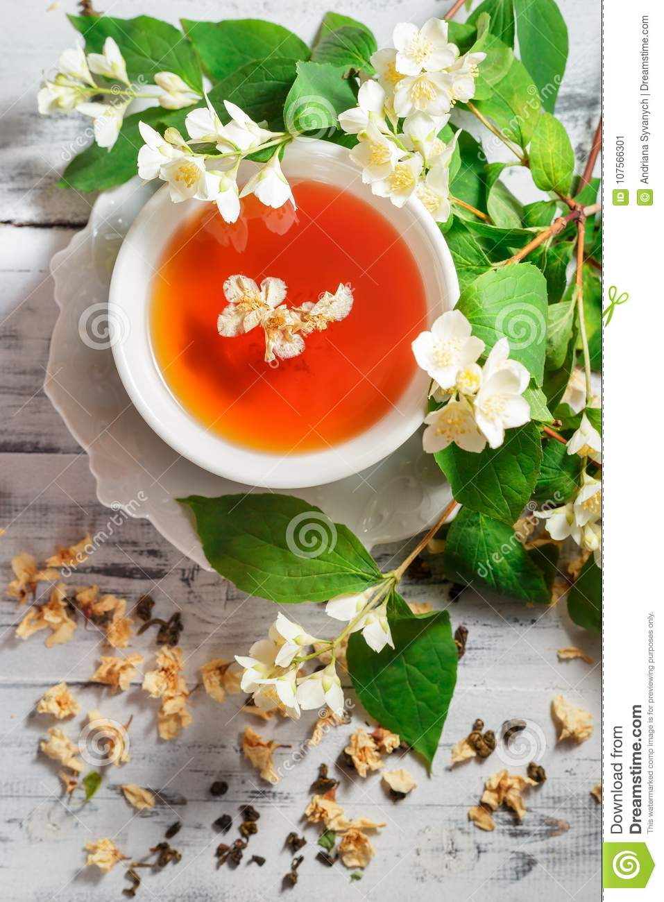 Cup of green tea with jasmine flowers stock image image of asian royalty free stock photo izmirmasajfo
