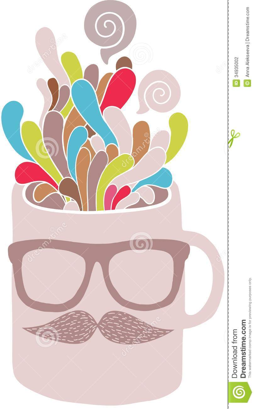 Cup With Hipster Mustache And Glasses Stock Vector - Image ...