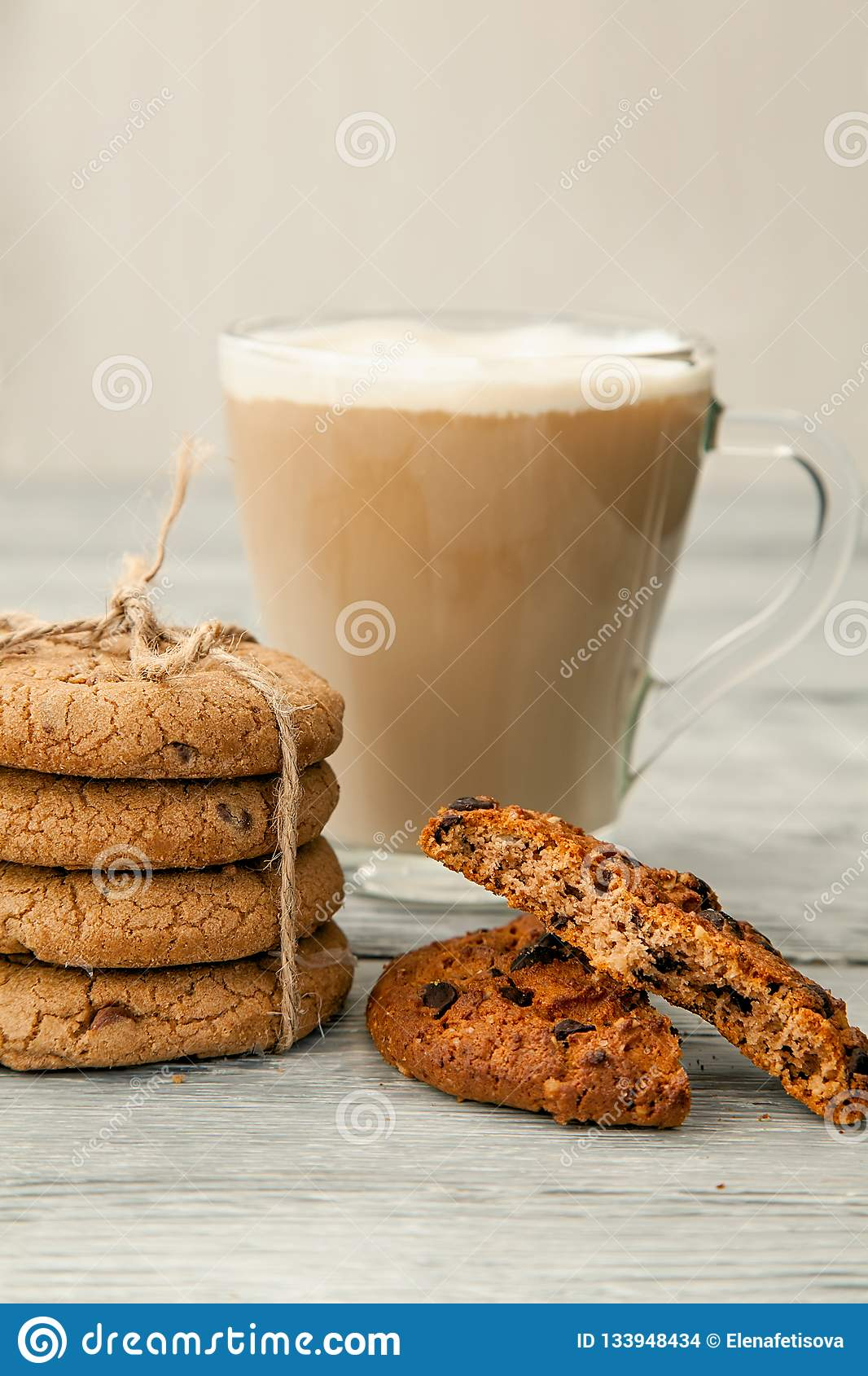 Cup Of Coffee With American Cookies On Grey Wooden Background Stock Photo - Image of food ...