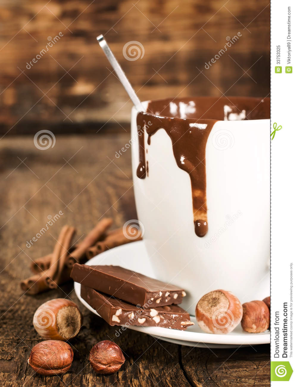 Cup Of Hot Chocolate With Nuts And Cinnamon Close-up Royalty Free ...
