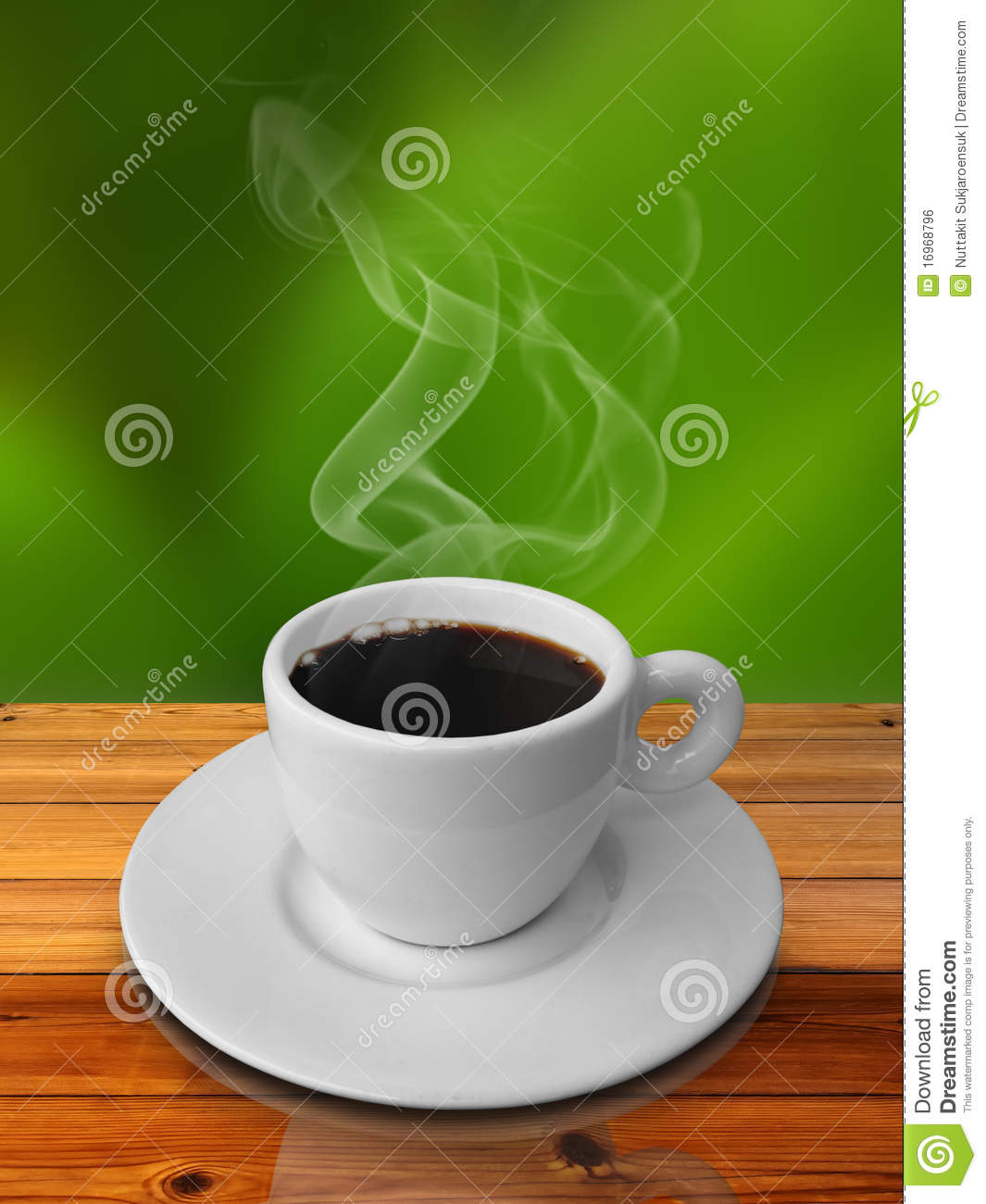 Wood Table Top On Blurred Beach Background Vintage Tone: Hot Cappuccino In Green Coffee Cup On Wood Table Royalty