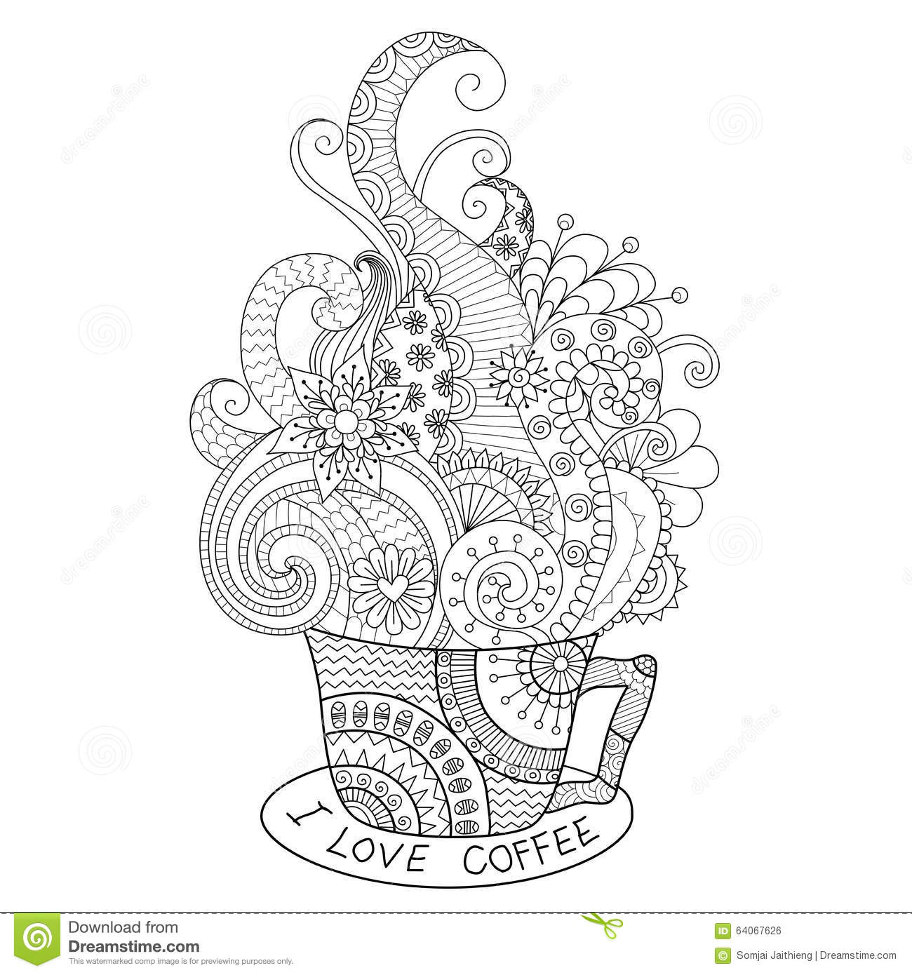 a cup of hot coffee zentangle design for coloring book for. Black Bedroom Furniture Sets. Home Design Ideas