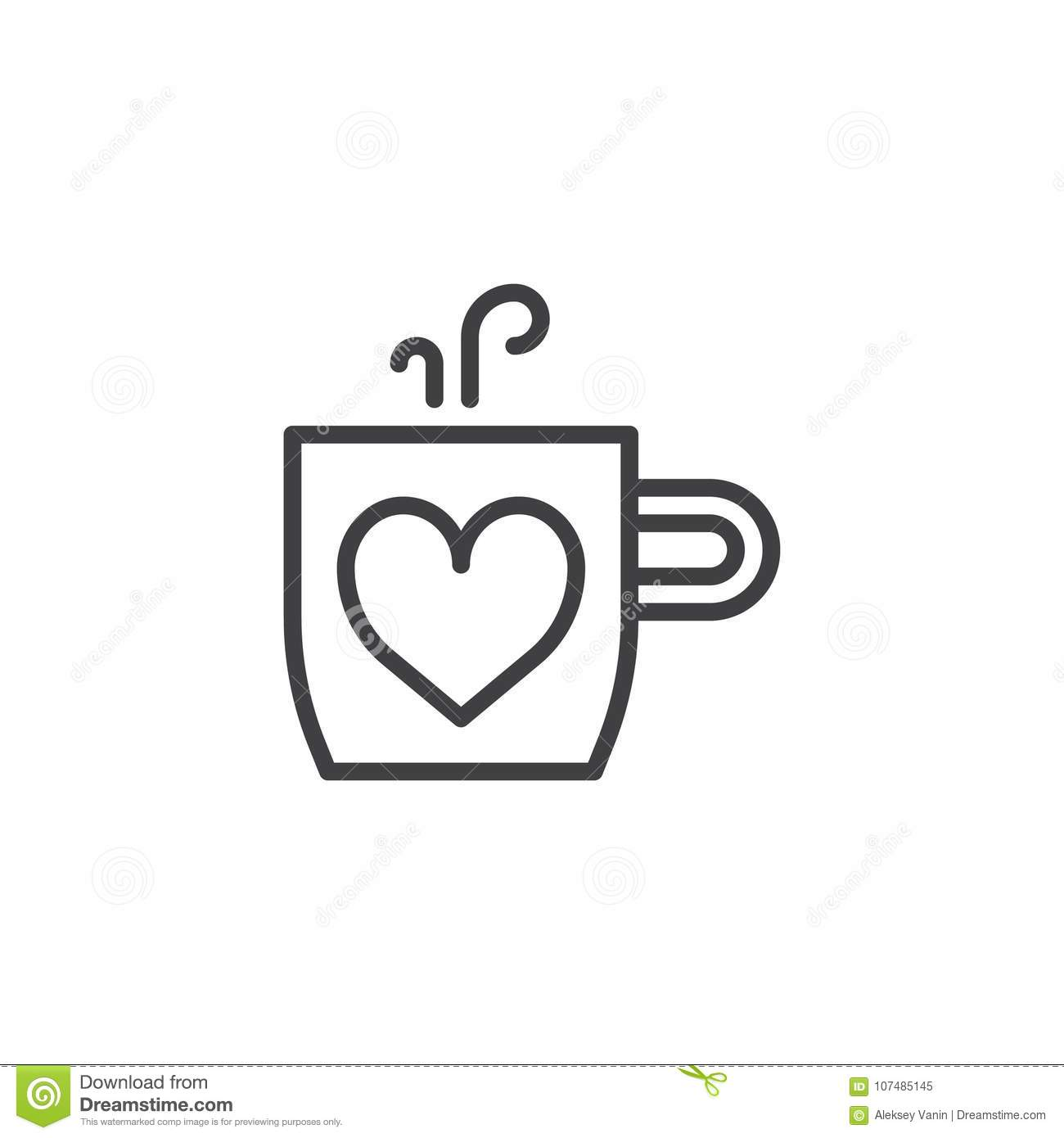 Cup Of Hot Drink And Heart Line Icon Stock Vector