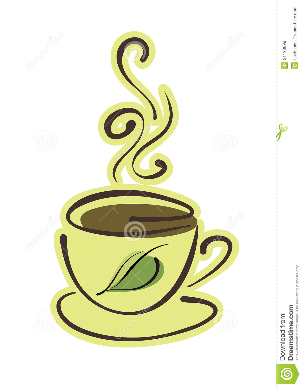 cup of hot herbal tea with green leaf royalty free stock