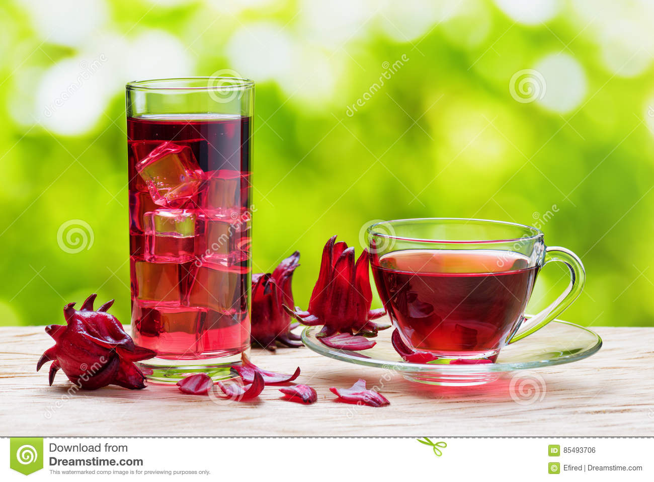 Cup Of Hot Hibiscus Tea Karkade And The Same Cold Drink Stock Photo