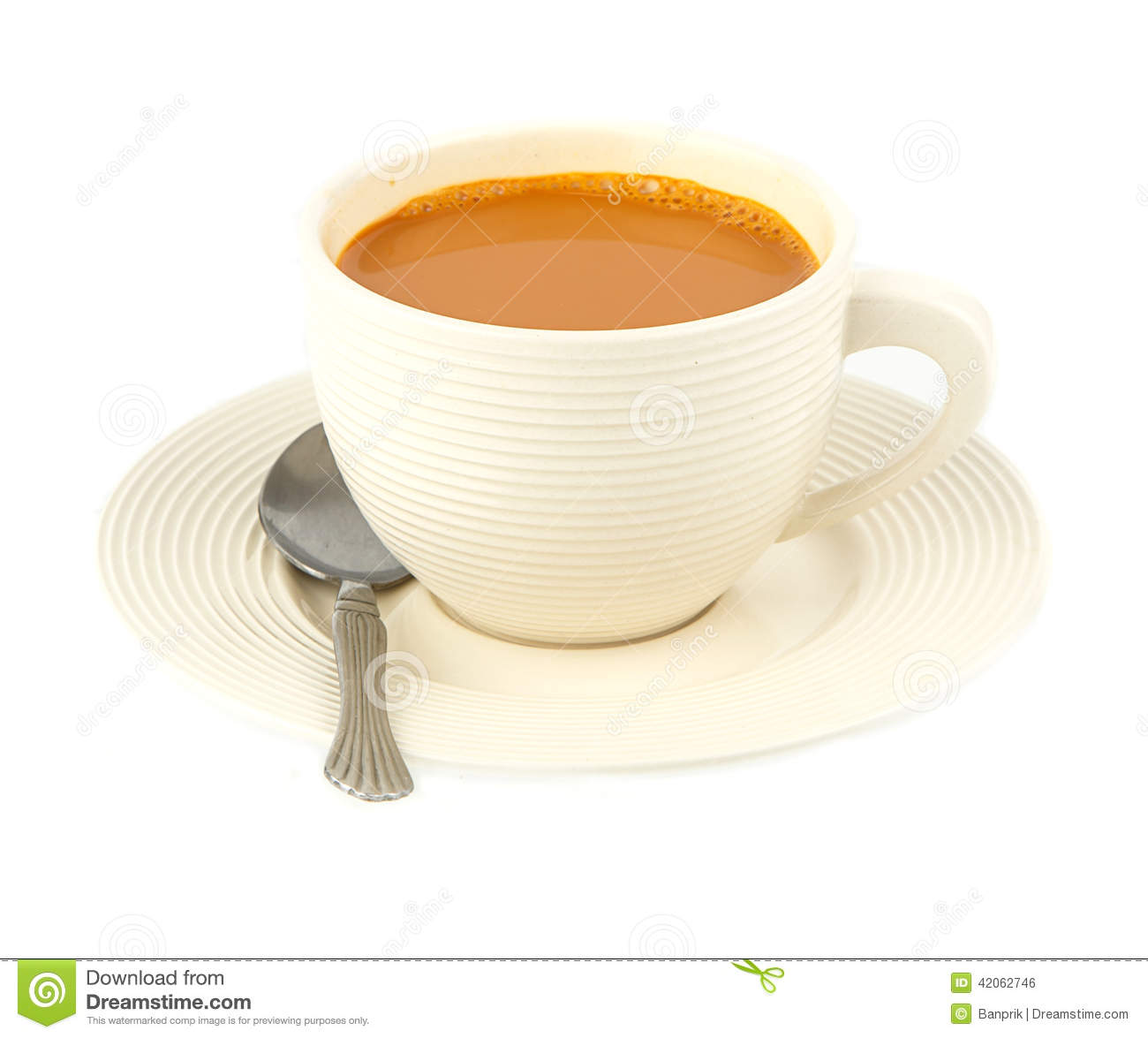 Cup Of Hot Milk Tea On White Stock Photo - Image: 42062746