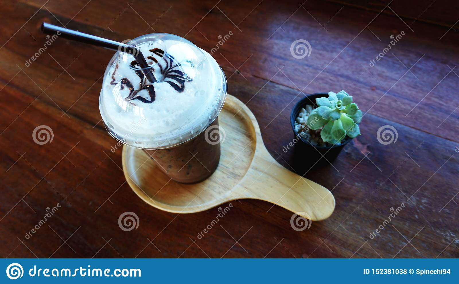 A cup of ice coffee with cactus