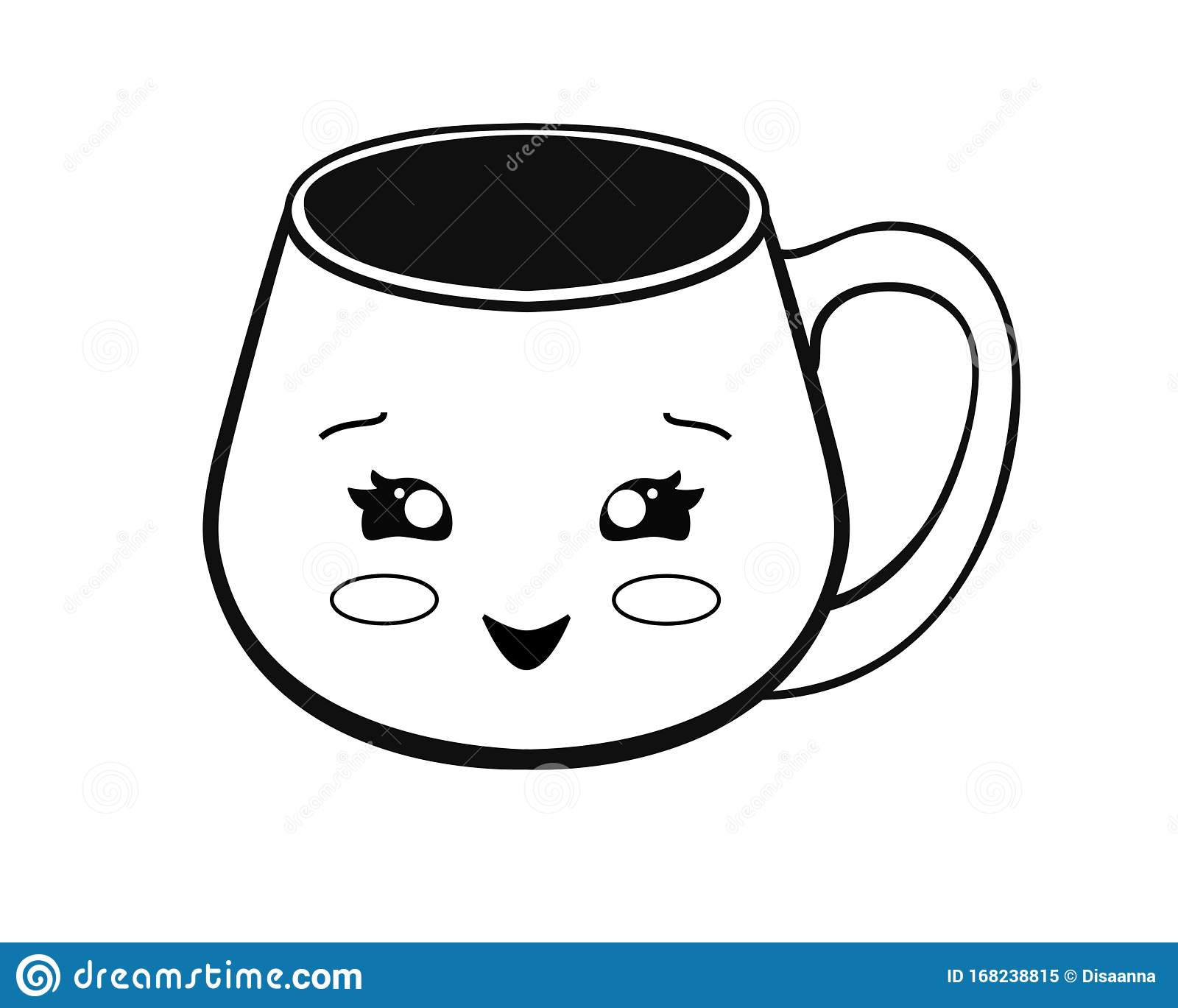 Cup With Kawaii Face Cute Cup Emoticon Vector Linear Picture For Coloring A Cute Mug Outline Hand Drawing Stock Vector Illustration Of Beverage Emoji 168238815