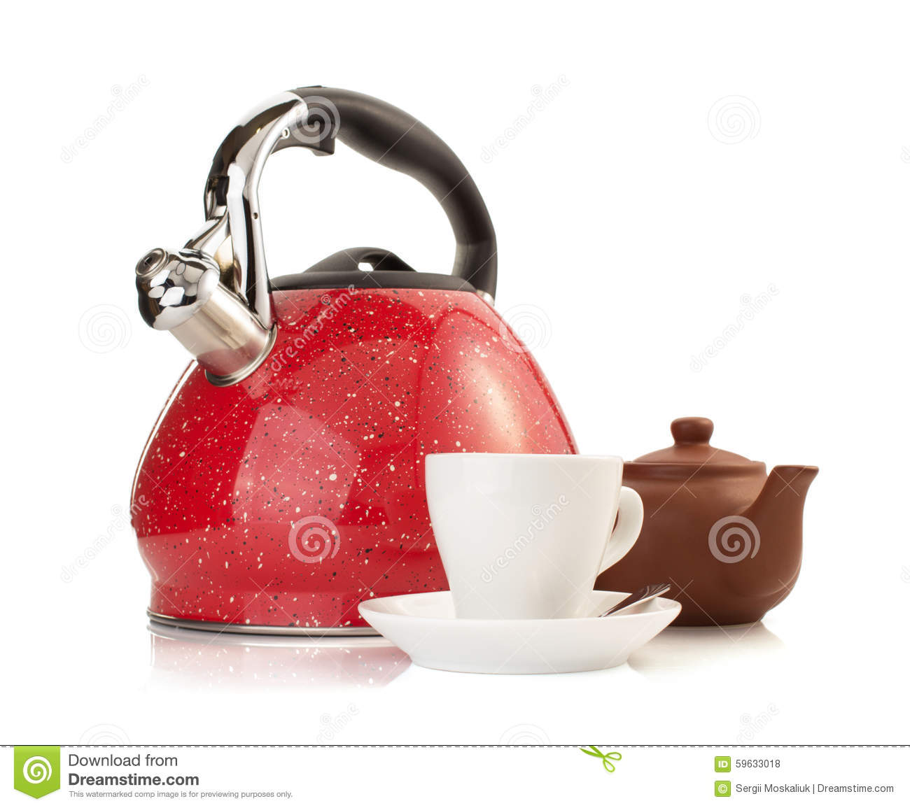 Cup and kettle isolated on white