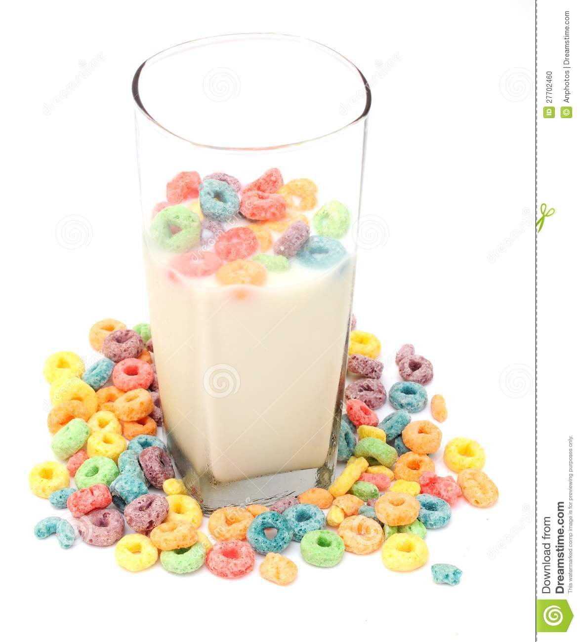 Cup Of Milk And Cereal Stock Photo. Image Of Bowl, Loops