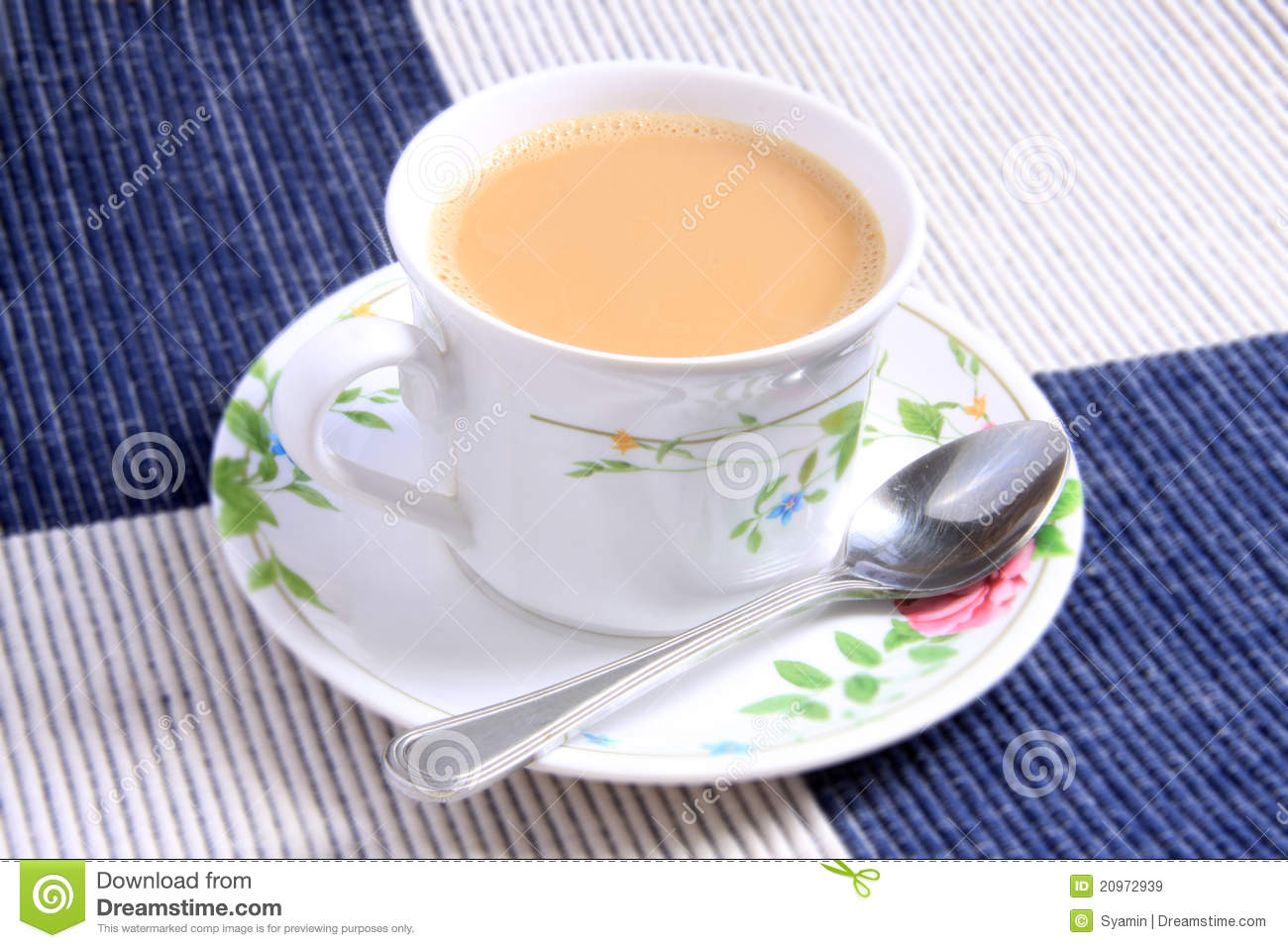 Cup of milk tea and spoon stock image. Image of refreshing ...