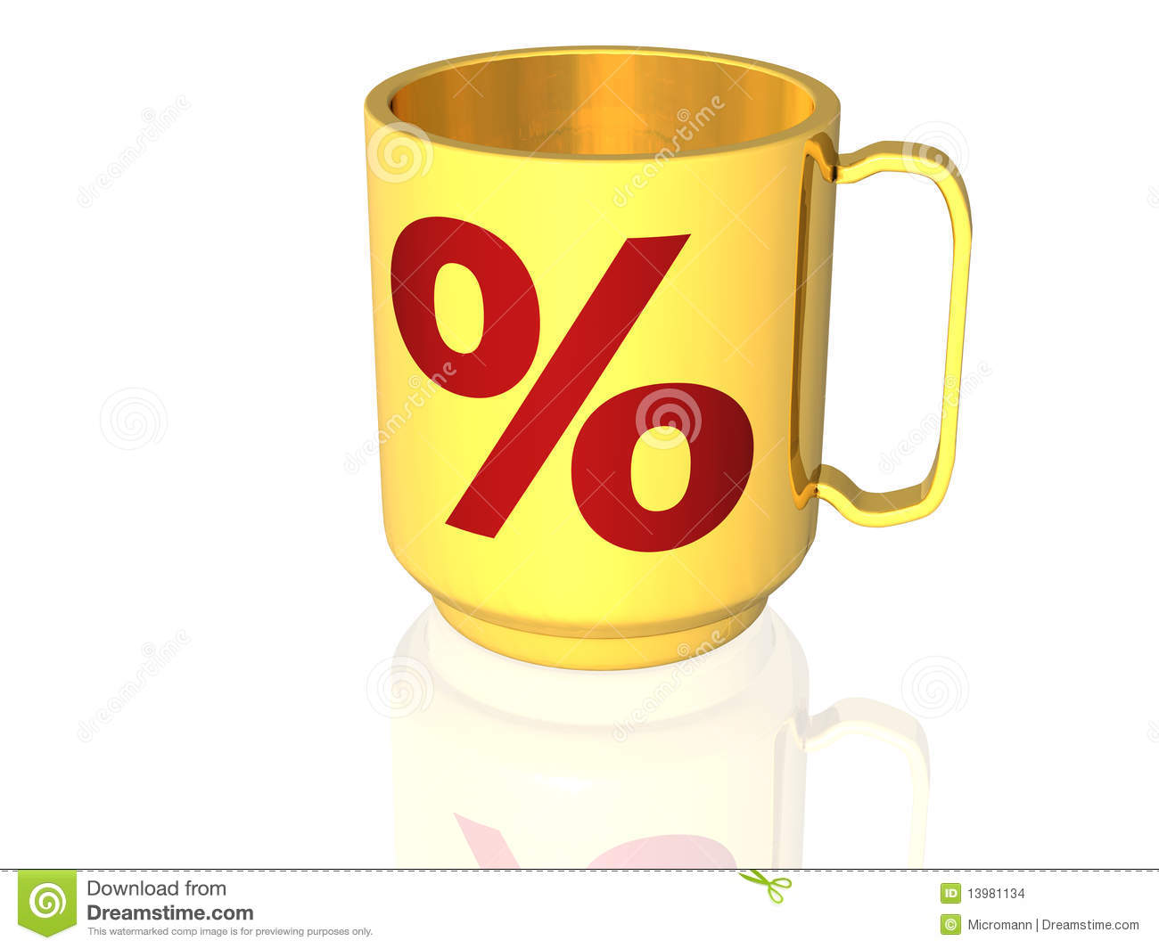 Cup with percentage signs - 3D