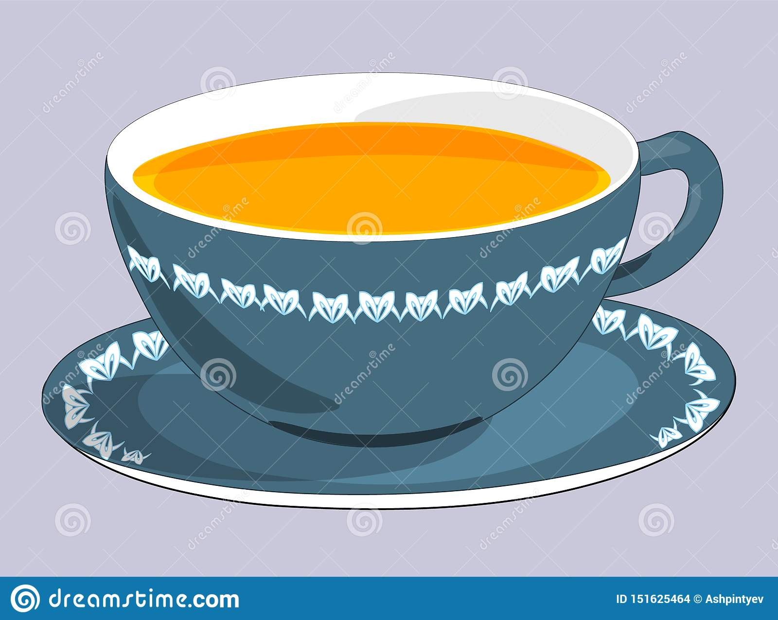 Flat Drawing Of A Cup And Saucer The Blue Mug Is Filled With Tea Tea Party Isolated Grey Vector Stock Vector Illustration Of Saucer Element 151625464