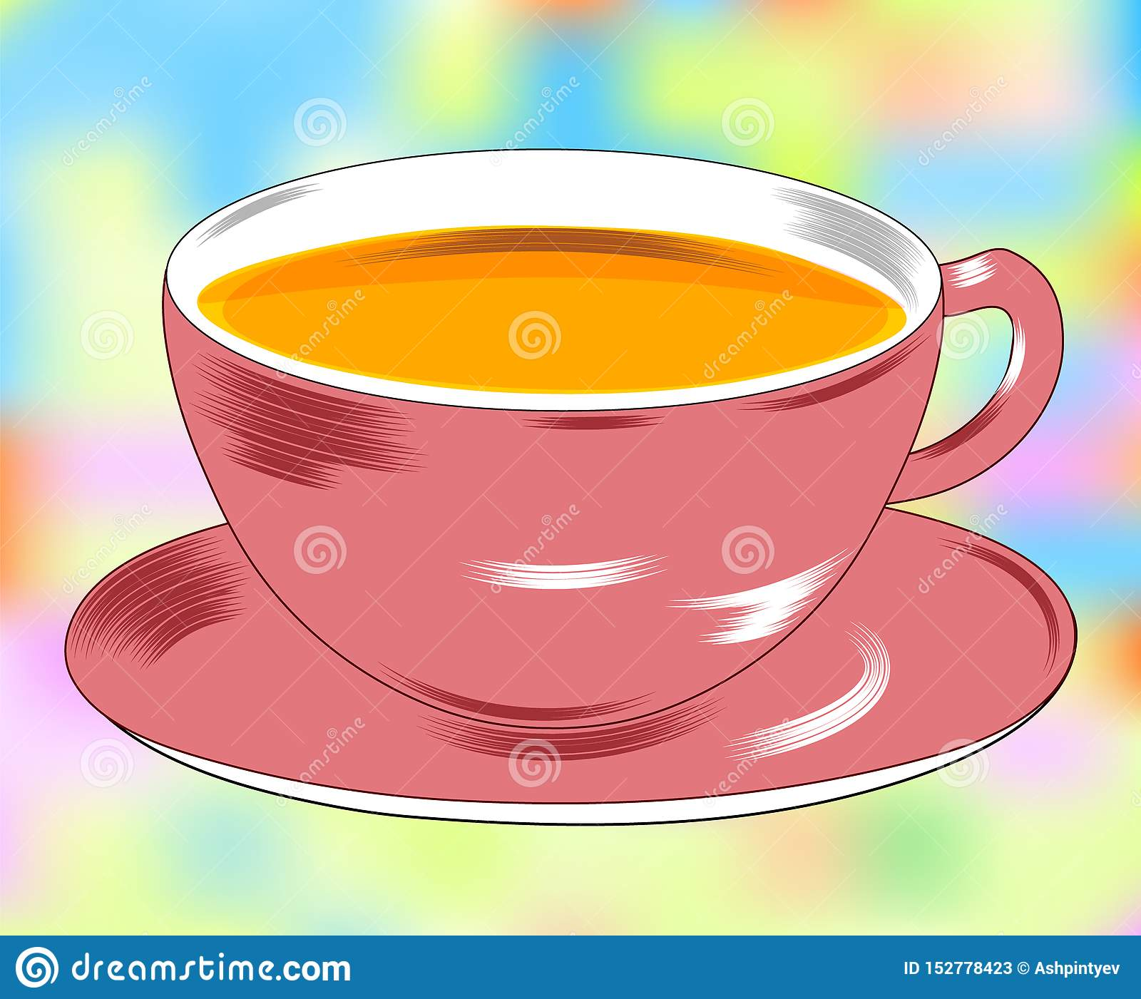 Flat Drawing Of A Cup And Saucer The Mug Is Filled With Tea Tea Party Isolated Beautiful Background Vector Stock Vector Illustration Of Healthy Style 152778423