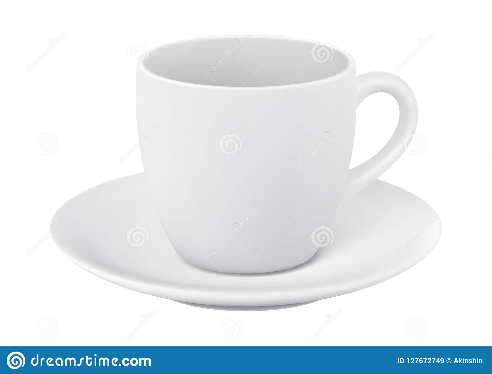 Cup And Saucer On White Background Stock Vector Illustration Of Saucer Template 127672749