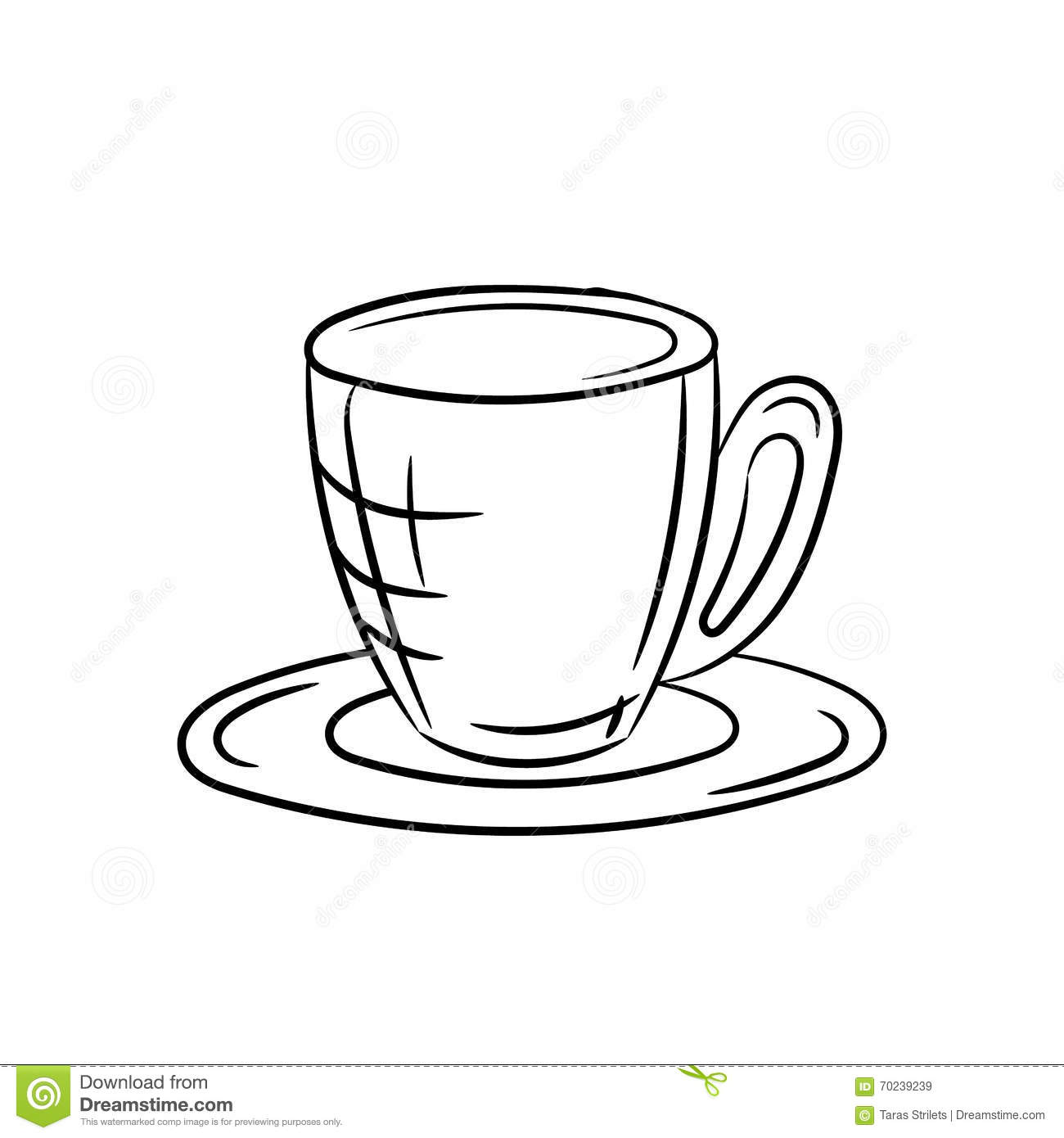 Cup And Saucer On A White Background Stock Vector Illustration Of Design Break 70239239
