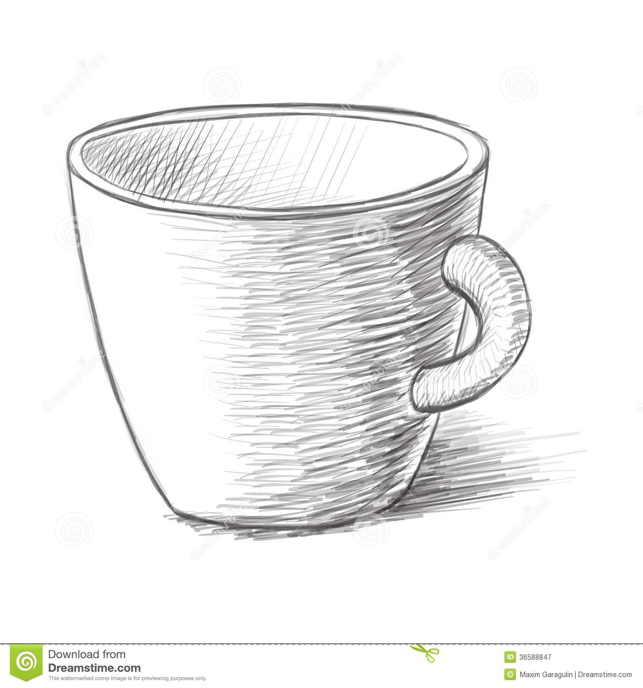 Cup Sketch Vector Illustration Stock Vector - Illustration of ...