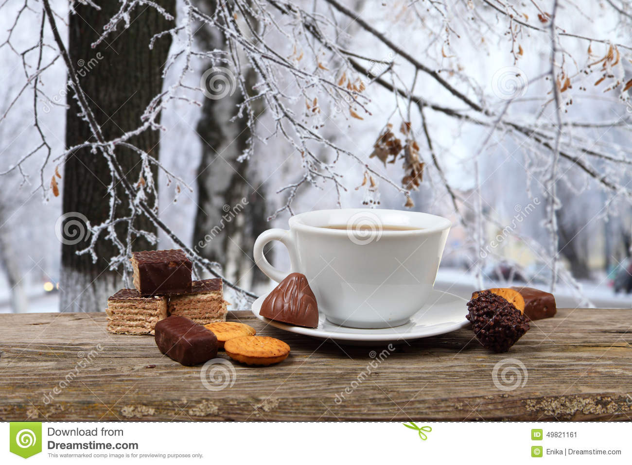 Cup Of Tea On The Background Of A Winter Landscape Stock