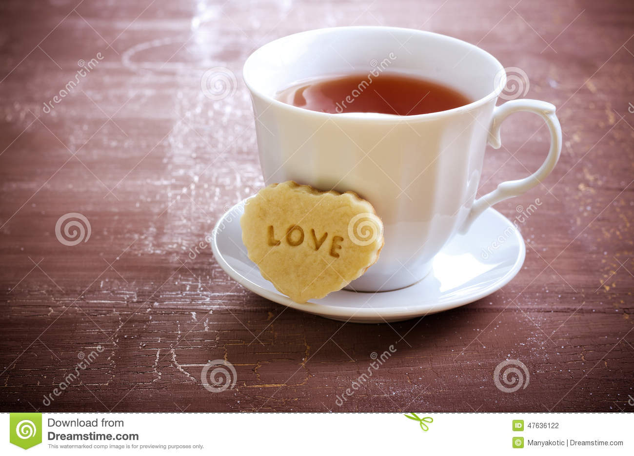 Cup Of Tea And Biscuit Stock Photo Image Of Drink Valentine 47636122