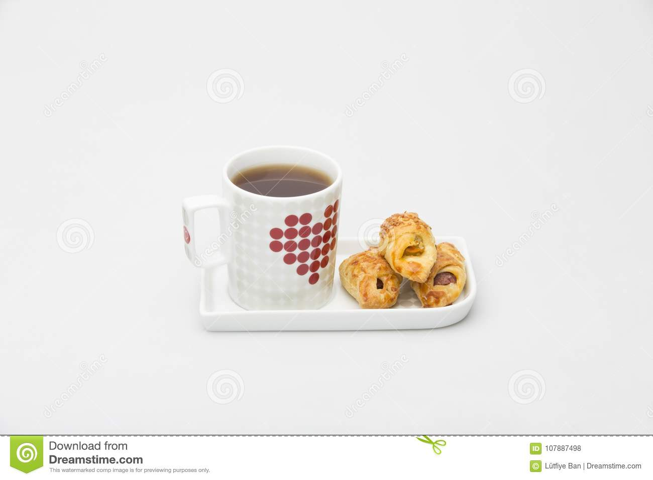Cup Tea Black White Red and Cookie