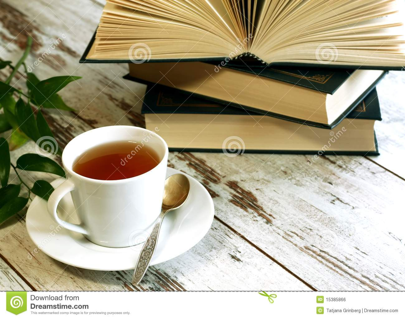 Cup Of Tea And Books On Wooden Royalty Free Stock Image ...