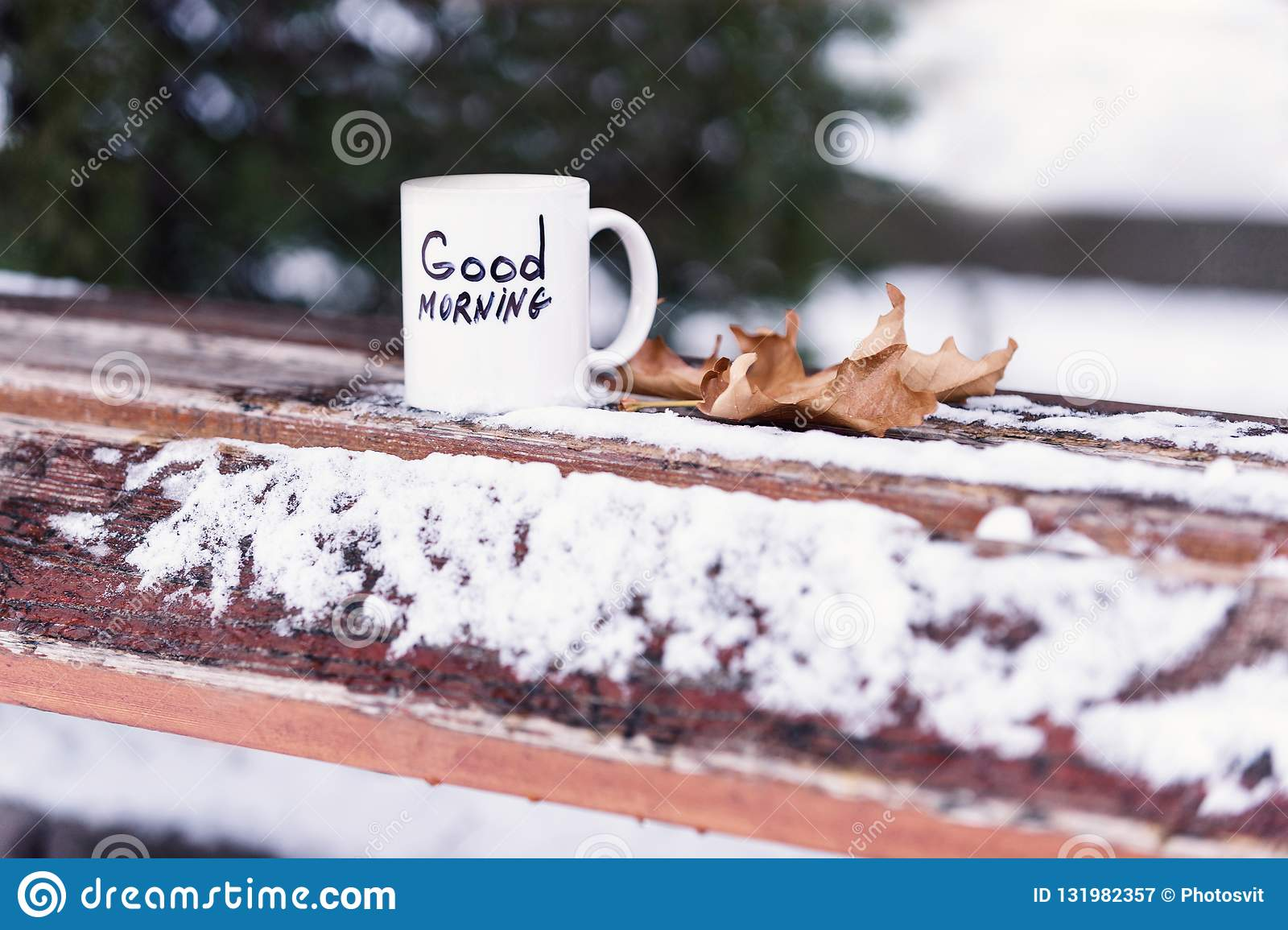 Cup Of Tea Or Coffee With Good Morning Inscription Stock Image