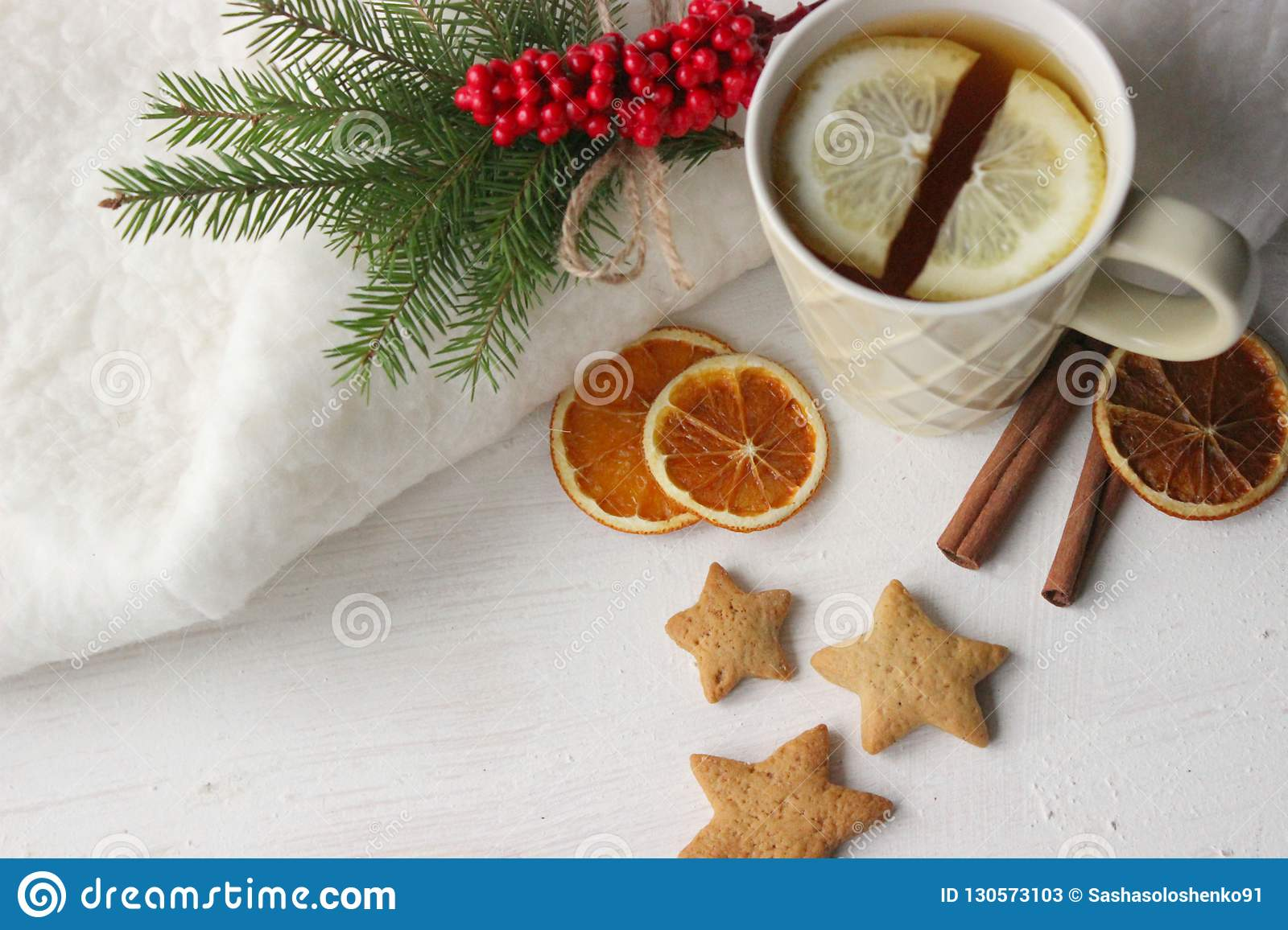 A Cup Of Tea With Lemon On The Table Close Up Surrounded By