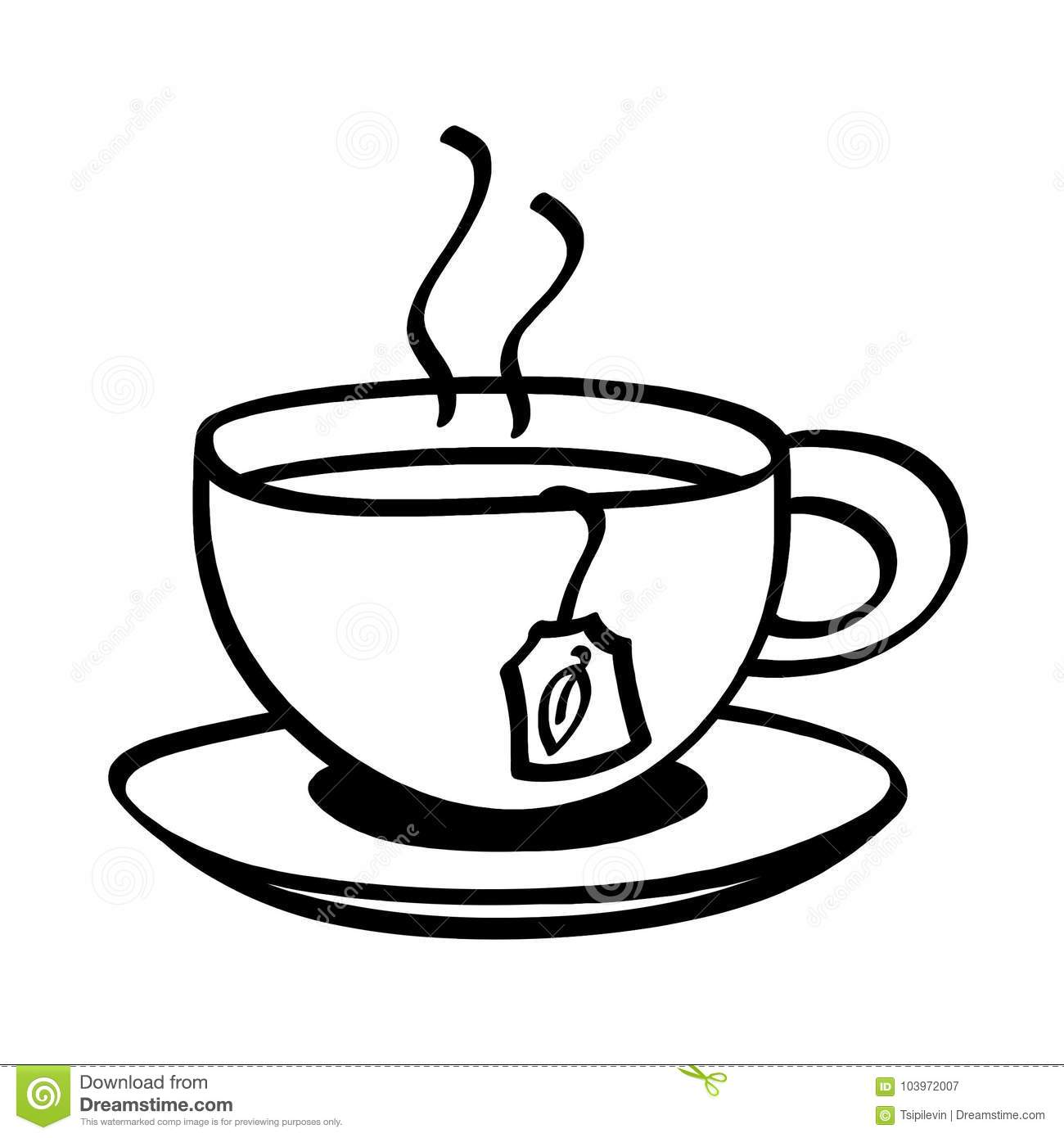 Tea Rose Clipart Black And White: Cup Of Tea Outline Illustration On White Background Stock